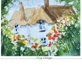 Reserved for Sandy  Original Miniature Watercolour Cozy Cottage, ACEO