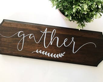 Wood gather plaque//gather sign//gather plaque//wood plaque sign//wood sign