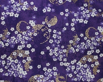 Asian Collection 2010; Alfred Shaheen for Free Spirit; Plum Blossoms; metallic; 1/2 yard woven cotton fabric