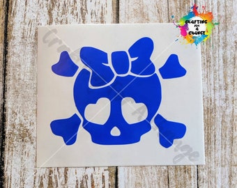 Skull and Crossbones with Bow Vinyl Decal, Skull and Crossbones Decal, Skull and Crossbones, Car Decal, Vinyl Decal, Vinyl Sticker, Laptop