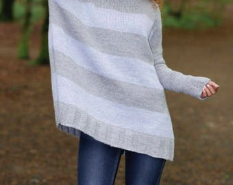 Knit wool oversized sweater,  with stripes in Wool and Alpaca, handknitted, oversized, ing Grey and Fog