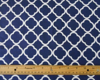 Navy blue quatrefoil cotton fabric by the yard