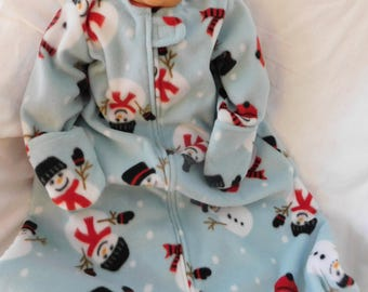 BABY FLEECE SLEEP Sack --  with or without mittens, snowmen on blue -- available in S,M,L or X-Large