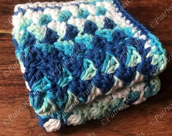 "Textured Crochet Dishcloth, Crochet Washcloth, Handmade Dishcloth Set of 2-9""x9"", Blue Cotton Dishcloth, White Cotton Washcloth, Dish Cloth"