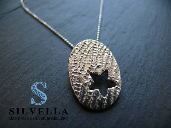 Cut Out Star Pendant - Silver Star Pendant - Handmade in Wale - Gift for Her - Textured Star Necklace