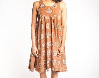 Brown Summer Dress Hand Block Printed with Natural Dyes