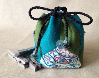 Small purse, empty pocket of silk, linen and cotton. Valentine's day gift.