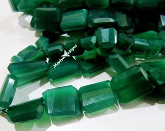 Best Quality Nugget Shape Faceted Green Onyx Beads , Natural Green Onyx Tumbled Beads , 13 to 16mm long Leser Cut Beads , Strand 7 inch long
