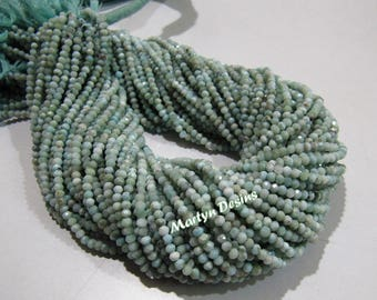 Best Quality 2mm Natural Genuine Larimar Beads , Rondelle faceted Larimar Beads , Strand 13 inches long , Semi Precious Gemstone Beads.