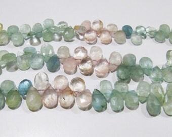 Genuine Natural Multi Color Aquamarine Pear Shape Briolette Beads 7x10mm to 8x12mm , Strand 8 inches, Semi Precious Gemstone Beads