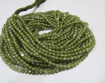 AAA Quality Olive Green Color Cubic Zirconia Beads , 3mm  Round Faceted CZ Beads , Strand 13 inches Long , Micro Faceted Cubic Zircon Beads