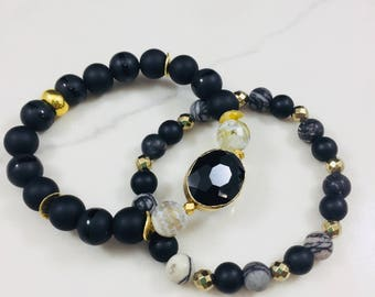 "Set of 2 ""Patrice"" black agate and crystal beaded bracelets • Fast and free shipping"