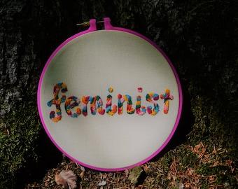 FEMINIST floral embroidery hoop