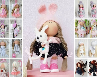 Rabbit Fabric Doll Bunny Textile Doll Interior Art Doll Nursery Pink Doll Tilda Baby Doll Cloth Handmade Doll Soft Decor Doll by Tanya E