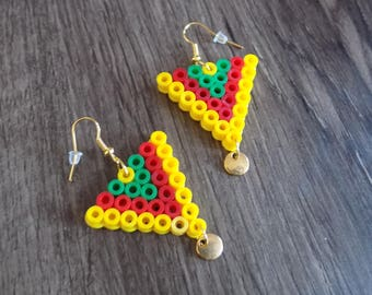 Small golden yellow red green hama bead and Pearl triangle earring