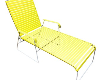 Vintage YELLOW CHAISE LOUNGE Heavy Iron white lawn chair pool mid century modern rubber strap outdoor seating metal webbing