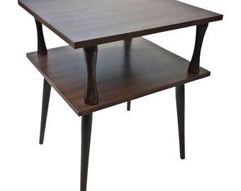 Danish Modern ACCENT TABLE ~ Plant Stand wood metal end side mid century vintage laminate brown retro 60s mcm mod minimalist 2 tier shelf