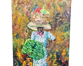 Vintage OIL PAINTING African Woman w/ Bananas mid century modern signed listed artist Lucille Cohn New York black lady portrait fruit ethnic