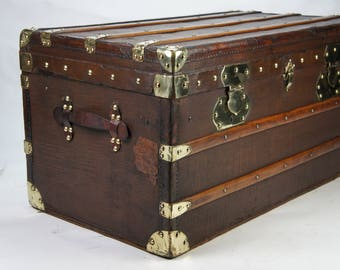 Magnificent Original Antique French Steamer Trunk