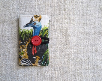 Card wallet, Credit card wallet, Loyalty card wallet, Repurposed fabric wallet, Cassowary wallet, Cassowary card wallet,Handmade card wallet