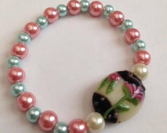 Lampwork Beaded Bracelet, Lampwork Pink and Green Bracelet, Pink and Green Pearl Bracelet,Lampwork Green and Pink,Ships From USA