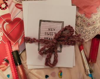hey sweet heart letter board valentine handmade card