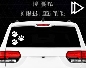 3 Dog Paw Print Decals
