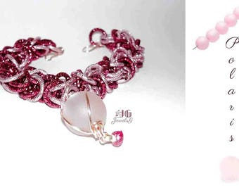 Chainmail bracelet pink and Burgundy with Pendant