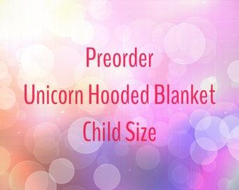 Preorder Unicorn Hooded Blanket, Unicorn Blanket Child Size, Kids Unicorn Blanket, My Little Pony Friendship is Magic, Christmas Gift Kids