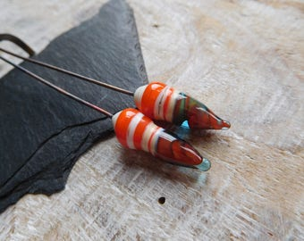 Lampwork headpins, ivory, orange and blue turquoise beads on stems, artisan lampwork, handmade.