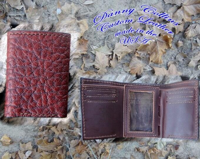 Shrunken Bull Hide Tri fold wallet, Leather Wallet, Mens Wallet