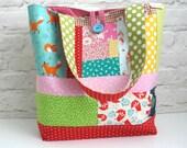 Patchwork Tote Bag, Large Shoulder Bag, Tote Bag, Travel Bag, Diaper Nappy Bag, Patchwork Purse, Large Handmade Bag, Scrappy Boho Hippy Bag