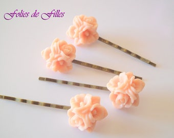 "Romantic hair clip ""rose Bouquet"" salmon"