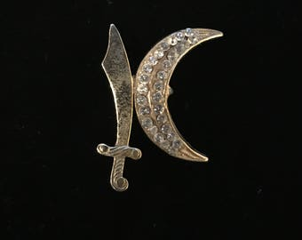 Vintage Sword and Rhinestone Crescent Brooch Pin