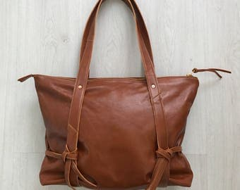 Brown leather shoulder bag, zip tote bag