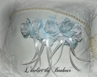 Light blue and white lace bridal garter