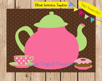Kitchen Tea Garden Party  Digital Blank Invitation template . Digital File. 5 x 7 inches. JPG. Instant Download. Fill in your own text. DIY.