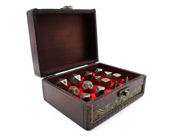 Twin Role Playing Metal Dice Sets with Storage Chest / Box for Dungeons and Dragons
