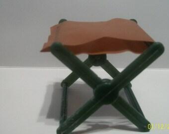 1971 Mattel Big Jim  Folding Camp  Stool Gree Legs and Tan Seat