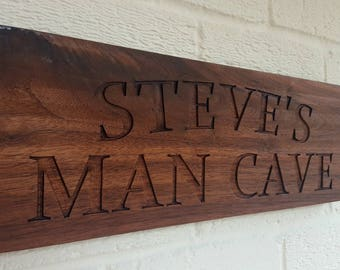 Custom American Black Walnut Engraved Personalised MAN CAVE Sign Plaque