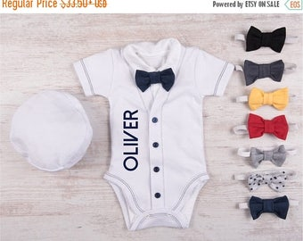 LATE SHIP SALE Coming Home Outfit Boy, Personalized Cardigan (Short Sleeve or Long Sleeve), Bodysuit, Hat & Bow Tie White/Navy Set, Baby Boy