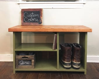 Entryway Bench with Shoe Storage, Solid Wood Entryway Organizer, Shoe Rack, Shoe Organizer, Storage Bench, Shoe Bench, Rustic bench, Bench