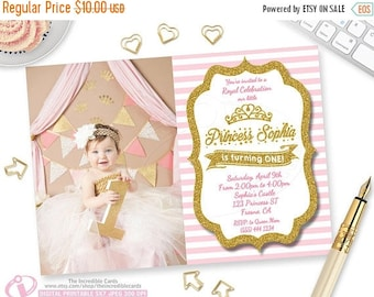 50% OFF SALE Princess Birthday Invitation, First Birthday Invitation, Photo Invitation,  Gold Glitter Stripes, Pink and Gold, Gold Glitter,