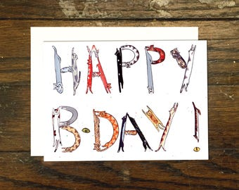 Cat Lettered Birthday Greeting Card