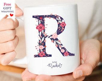 Letter Mug, Monogram mug, Custom Letter Mug, Personalized Name Mug, Initial Mug, Letter L mug, Unique Mugs, Custom Floral Mug, coffee Mug.