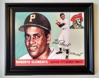 ROBERTO CLEMENTE - 1955 Topps baseball card - 11 x 14 canvas transfer print