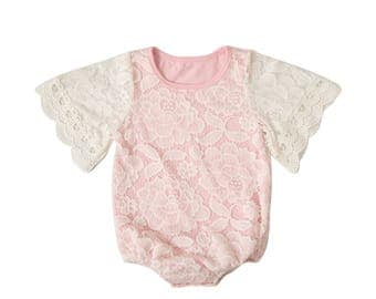 Soft Lace Jumpsuit Pink- Free shipping in USA