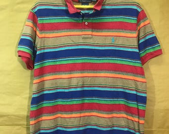 Vintage Polo Ralph Lauren Multicolor Rainbow Stripes Polo Shirt Adult XXL Size