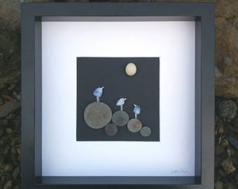 Bluebirds, an Irish pebble art gift using blue lace agate