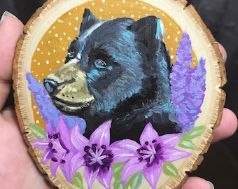 Bear with Bouquet mini painting